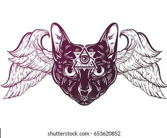Vector hand drawn illustration of cat with wings. Character design. Artwork with portrait of mystical elegant cat. All seeing eye pyramid symbol. Template for card, poster, banner, print for t-shirt.