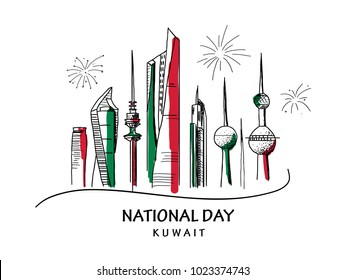 vector hand drawn illustration, celebration of Kuwait's national day on February 25 vector