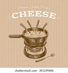 Vector hand drawn Illustration with cheese fondue. Sketch. Vintage style. Retro background.