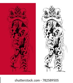 Vector of hand drawn illustration of chinese lion dance