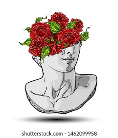 Vector hand drawn illustration of classical sculpture fragment of colossal head with red roses and leaves bursting from the broken side. Isolated on white background.