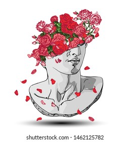 Vector hand drawn illustration of classical sculpture fragment of colossal head with colorful red roses, stems and green leaves bursting from the broken side. Isolated on white background.