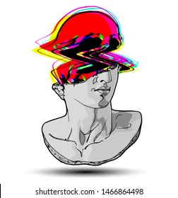 Vector hand drawn illustration of classical sculpture fragment of colossal head of youth with glitched colorful skull coming out from the broken side. Isolated on white background.