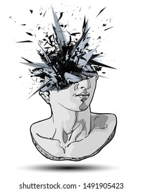 Vector hand drawn illustration of classical sculpture fragment of colossal head exploding in thousand particles from the broken side. Isolated on white background.