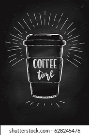 Vector hand drawn illustration. A coffee Cup is drawn on the chalk Board. The idea for a cafe, restaurant, poster.
