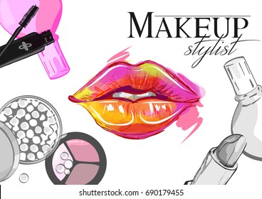 Vector hand drawn illustration of colorful women lips and makeup brushes. Concept for beauty salon, cosmetics label, cosmetology procedures, visage and makeup.
