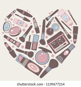 Vector hand drawn illustration of cosmetics in the shape of a heart. Design for poster and card