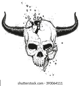Vector hand drawn illustration of a crushed skull. Monster jawless human skull with horns. Broken demon dead head drawing.