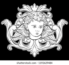 Vector hand drawn illustration of cupid in frame. Creative realistic tattoo artwork. Template for card, poster, banner, print for t-shirt, pin, badge, patch.