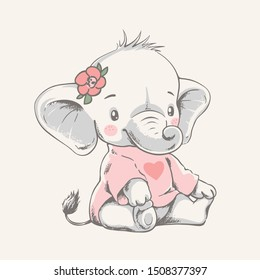 Vector hand drawn illustration of a cute baby elephant in a pink t-shirt.