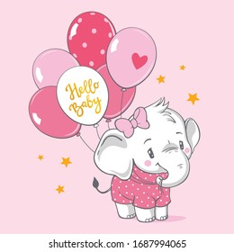 Vector hand drawn illustration of a cute baby elephant with pink balloons.