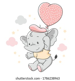 Vector hand drawn illustration of a cute baby elephant floating with a pink balloon.