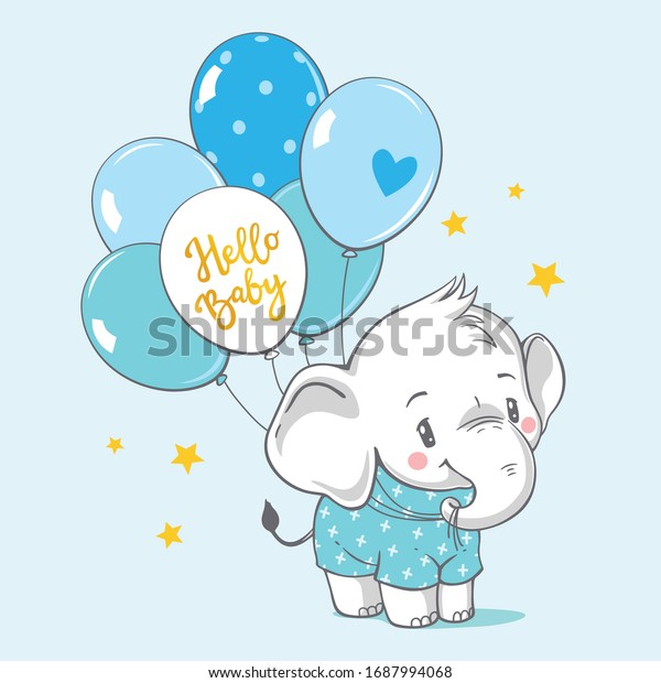 Vector hand drawn illustration of a cute baby elephant with blue balloons.