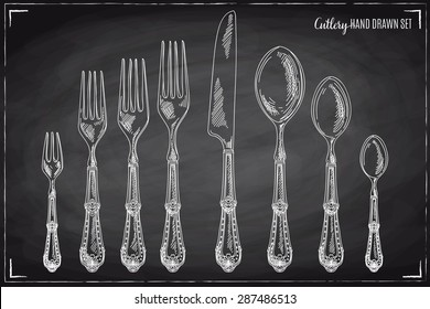 Vector hand drawn illustration with cutlery set. Sketch. Vintage illustration. Chalkboard.