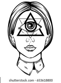 Vector hand drawn illustration of cyclops. Tattoo hand sketched artwork. All seeing eye pyramid symbol. Template for card, poster, banner, print for t-shirt.