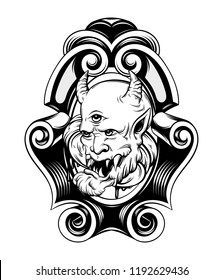 Vector hand drawn illustration of daemon in frame. Creative realistic tattoo artwork. Template for card, poster, banner, print for t-shirt, pin, badge, patch.