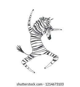 Vector hand drawn illustration with dancing animal with fashion pattern of leather. Zebra hipster, dressed in 90s style. Funny character in animalistic print