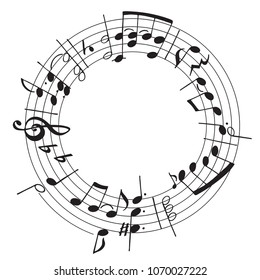 Vector hand drawn illustration with decoration of musical notes in the shape of a circle