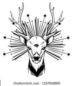 Vector hand drawn illustration of deer with three eyes. Alchemy, religion, spirituality, occultism, tattoo art, coloring books. Template for card, poster, banner, print for t-shirt.