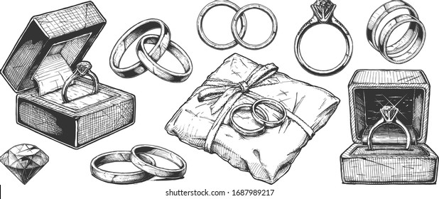 Vector hand drawn illustration of different wedding jewelry rings in vintage engraved style. isolated on white background.