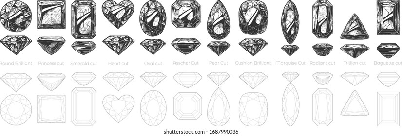 Vector hand drawn illustration of different diamond cuts and shapes: Round Brilliant, Princess cut, Emerald, Heart, Oval, Asscher, Pear, Cushion, Marquise, Radiant, Trillion and Baguette.