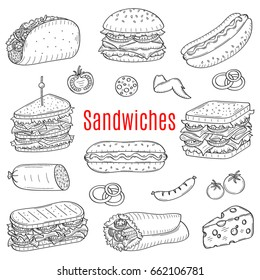 Vector  hand drawn illustration of different types of sandwiches, burger, hot dog, club sandwich, taco, hamburger, panini, wrap sandwich isolated on white background, doodle, sketch style.