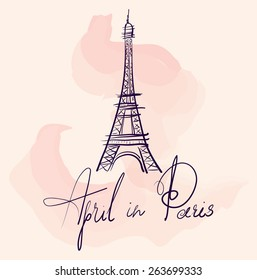 Vector hand drawn illustration with Eiffel tower. Symbol of Paris