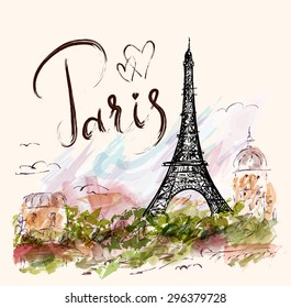 Vector hand drawn illustration with Eiffel tower. Paris.