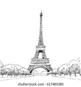 Vector hand drawn illustration with Eiffel tower. Paris.