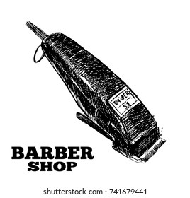 Vector hand drawn illustration of electric hair clipper in vintage engraved style. isolated on white background. Side view.