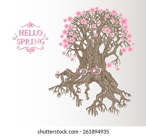 vector hand drawn illustration of fantasy old  tree-grandmother in  pink glasses with spring pink flowers