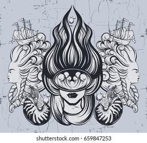 Mermaid Tattoo Images, Stock Photos & Vectors | Shutterstock