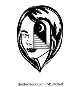 Vector hand drawn illustration of female head with door and stairway. Tattoo artwork. Drawing for card, poster, banner, print for t-shirt.