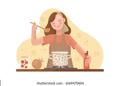 Vector hand drawn illustration in flat style. A girl in an apron is cooking. Casserole on the stove with soup. Kitchen utensils, spices and sauces, ingredients. Homemade food, dinner, cozy atmosphere.