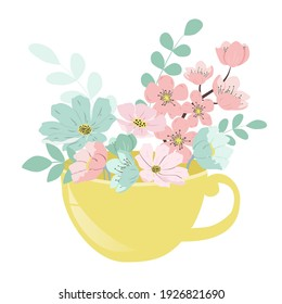 vector hand drawn illustration - flowers in a cup for tea. a picture on the theme of spring, flowers, floristry. thread flat illustration for websites, applications, magazines