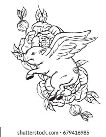 Vector hand drawn illustration of flying pig. Tattoo artwork with flowers.  Template for card, poster, banner, print for t-shirt.