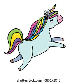 Vector hand drawn illustration of flying unicorn horse with rainbow hair isolated on white background