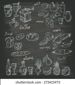 vector hand drawn illustration of food on black