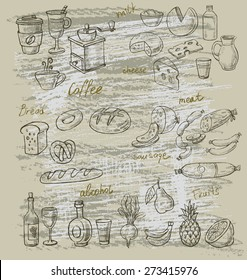 vector hand drawn illustration of food on beige