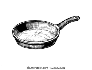 Vector hand drawn illustration of Frying pan in vintage engraved style. Isolated on white background.