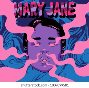 Vector hand drawn illustration of girl with smoke from ears, eyes, nose, mouth. Template for card, poster, banner, print for t-shirt.
