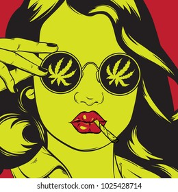 Vector hand drawn illustration of girl with roll-up and marijuana leaf on sunglasses. Creative portrait. Template for card, poster, banner, print for t-shirt ,pin, badge.
