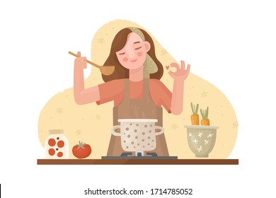 Vector hand drawn illustration. A girl in an apron is cooking. Approving gesture