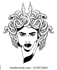 Vector hand drawn illustration of Gorgon isolated . Creative tattoo artwork. Template for card, poster, banner, print for t-shirt, pin, badge, patch.