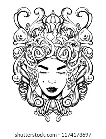 Vector hand drawn illustration of Gorgon in baroque frame isolated . Creative tattoo artwork. Template for card, poster, banner, print for t-shirt, pin, badge, patch.