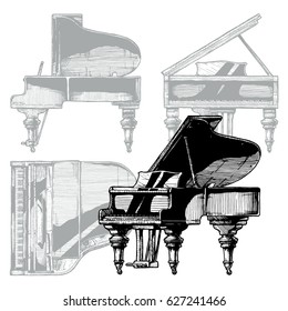Vector hand drawn illustration of Grand Piano. Orthographic projection on the background. Top, front, right side views.