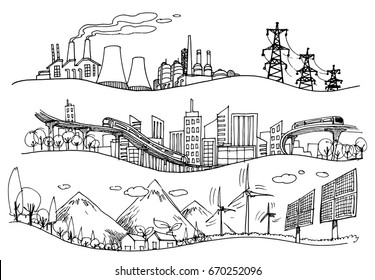 Vector hand drawn Illustration. Green world concept, Ecology doodles icons.