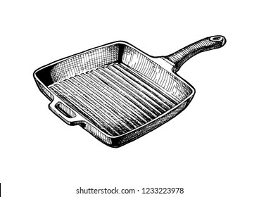 Vector hand drawn illustration of Griddle pan in vintage engraved style. Isolated on white background.