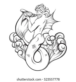 triton shell images stock photos vectors shutterstock Used Cars in Fiji vector hand drawn illustration of handsome triton in realistic line style with waves and shell