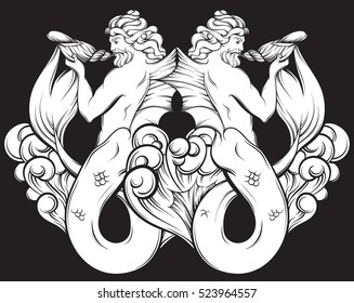 Vector hand drawn illustration of handsome  triton in realistic line style with waves and shell. Mythology artwork on black background. Template for card poster banner print for t-shirt.